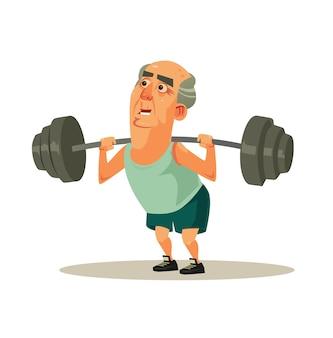 Feliz sorridente vovô velho personagem fazendo exercícios de exercício com halteres. aposentadoria de estilo de vida saudável e ativo