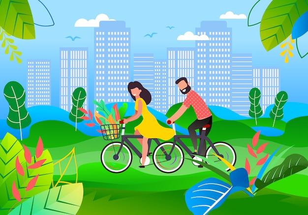 Feliz, sorrindo, homem mulher, ciclismo, em, cidade, parque, e, caricatura, jardim, ligado, cityscape
