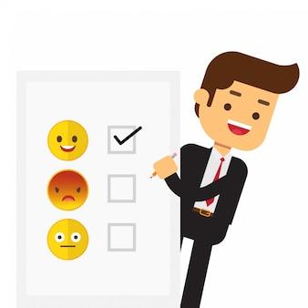 Feliz, sorrindo, homem negócios, sucesso, completado, plano