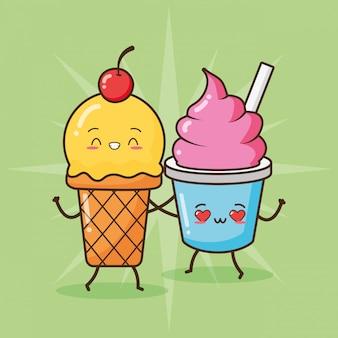 Feliz sorvete kawaii, design de comida, ilustração