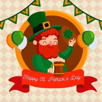 Feliz st. dia de patrick com o homem segurando a caneca de cerveja