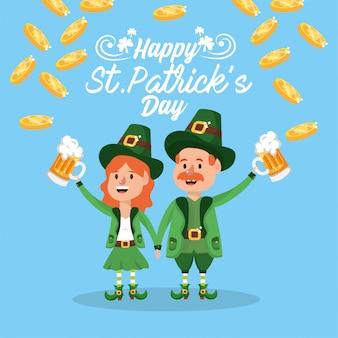 Feliz, st, patrick, homem mulher, com, copo cerveja