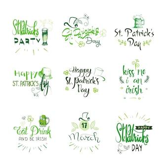 Feliz st. patricks day emblemas conjunto, ícone de tipografia de letras de férias irlandês mão desenhada