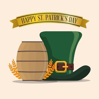 Feliz st patricks day hat barril de madeira e trigo