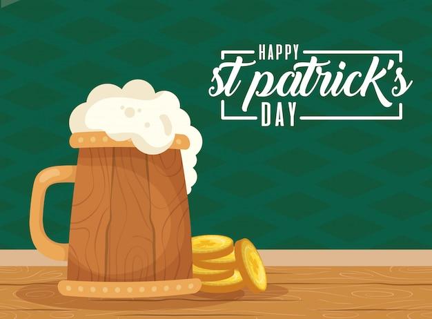 Feliz st patricks dia cartão com bebida de cerveja