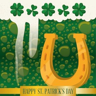 Feliz st patricks dia ferradura bolhas de cerveja verde