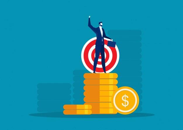 Feliz super rico empresário bem sucedido no conceito de moeda grande