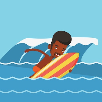 Feliz surfista em ação em uma prancha de surf.