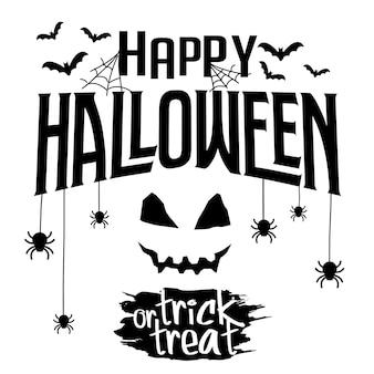 Feliz texto do dia das bruxas. ilustração do vetor com web, morcego e aranha