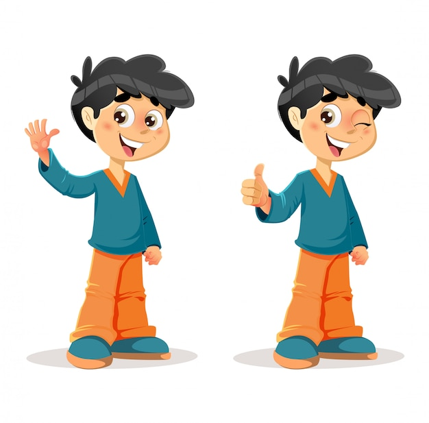 Feliz, thumb, cima, menino jovem, expressões