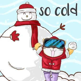 Feliz tigre e boneco de neve no fundo de neve