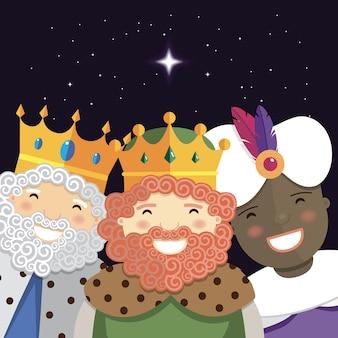 Feliz, três, reis, sorrindo, à noite