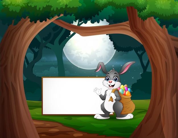 Feliz, um coelhinho parado perto do cartaz em branco à noite