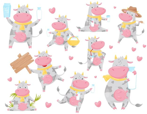 Feliz vaca malhada feliz em diferentes situações definidas, engraçado sorridente fazenda animal cartoon personagem ilustração sobre um fundo branco