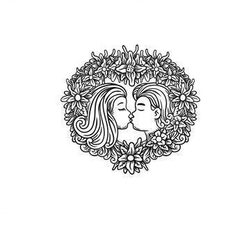 Feliz, valentine, par, ilustração