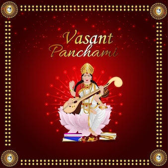 Feliz vasant panchami com ilustração da deusa saraswati