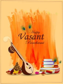 Feliz vasant panchami elementos criativos e plano de fundo
