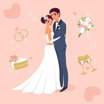 Feliz vassoura e noiva recém-casados