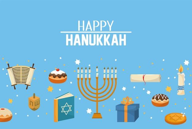Feliz velas de hanukkah e decoração para celebração