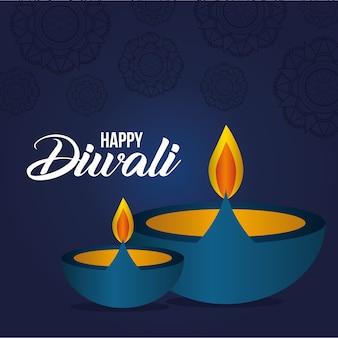 Feliz velas diwali em azul com desenho de fundo de mandalas, tema festival das luzes