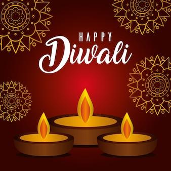 Feliz velas diwali em vermelho com desenho de fundo de mandalas, tema festival das luzes