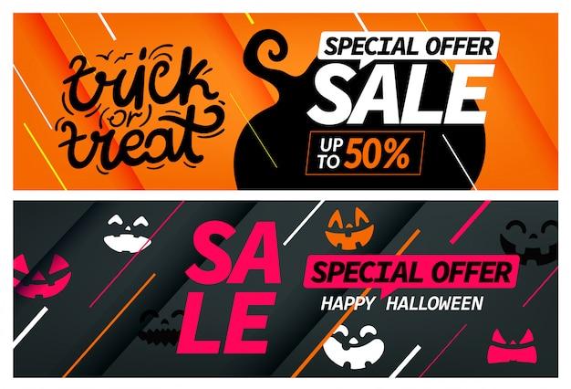 Feliz venda de halloween, oferta especial banner conjunto