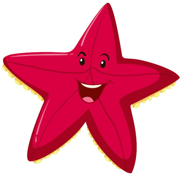 Feliz, vermelho, starfish, expressão