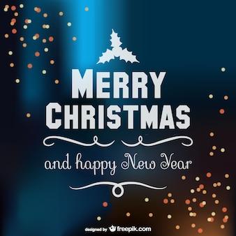 Feliz vetor tipografia natal com brilhos