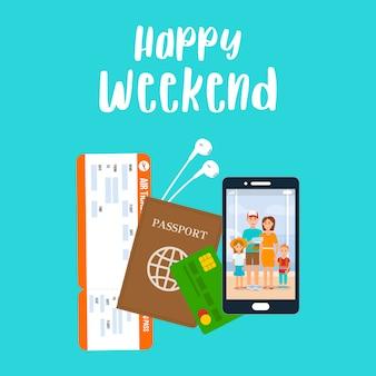 Feliz weekend lettering poster vector, cartão postal.