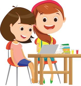 Felizes alunas estudando juntos na mesa