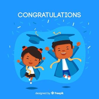 Felizes alunos com design plano comemorando a formatura