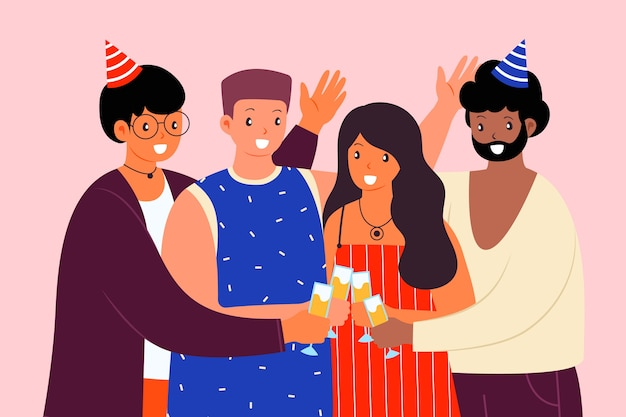 Felizes amigos brindando juntos