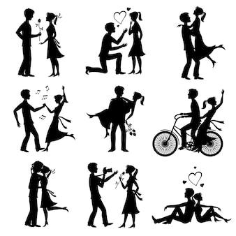 Felizes casais apaixonados recém casados, noiva e noivo silhuetas negras