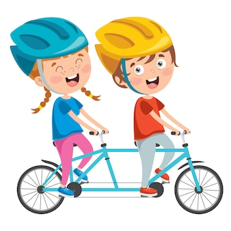Felizes crianças andando de bicicleta
