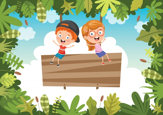 Felizes crianças brincando na selva