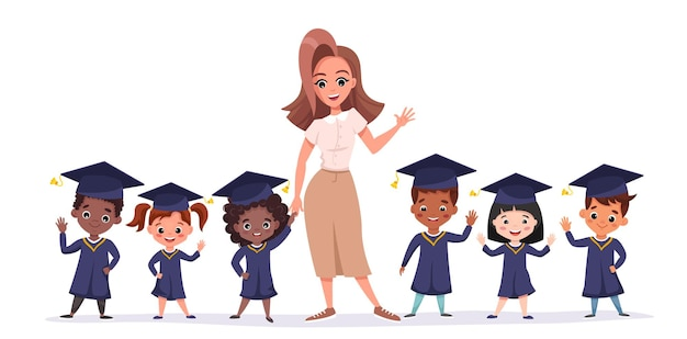 Felizes crianças de pós-graduação usando bonés e batas acadêmicas. crianças multiculturais com professor celebrando a formatura do jardim de infância juntos