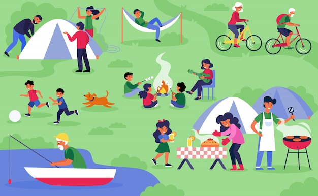 Felizes diversos turistas acampar na natureza