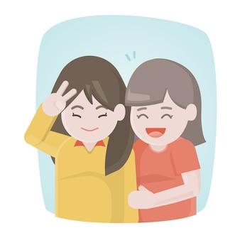 Felizes duas amigas rindo e abraçam juntos