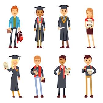 Felizes estudantes e graduados jovens aprendendo personagens de pessoas.