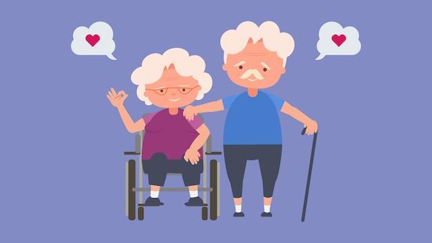 Felizes idosos, amantes idosos, bom humor e saúde física, amantes idosos, bom humor e saúde física