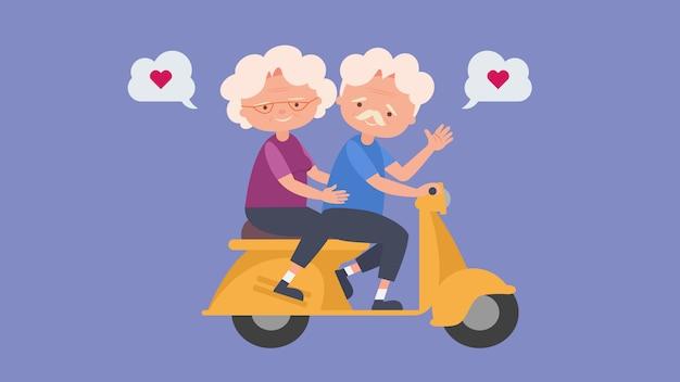 Felizes idosos dirigir uma motocicleta amantes idosos, bom humor e saúde física, amantes idosos, passam um tempo juntos felizes, bom humor e saúde física
