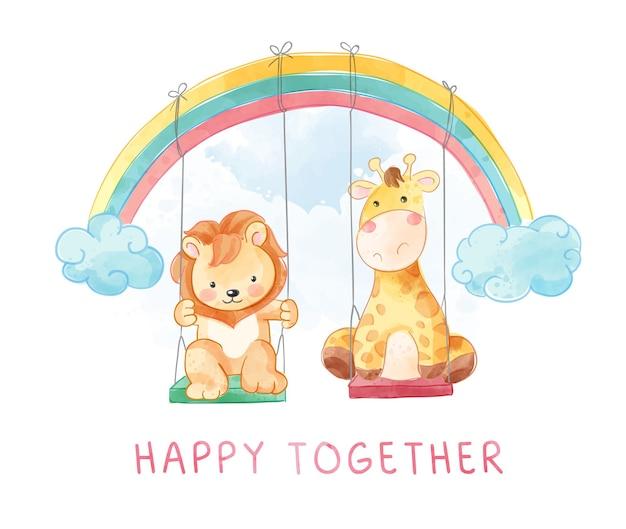 Felizes juntos slogan com desenho de leão e girafa brincando de ilustração de balanço