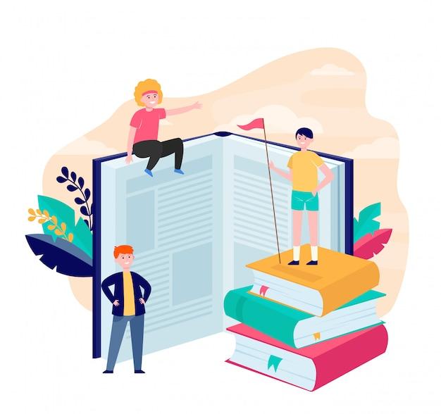Felizes leitores esportivos entre livros