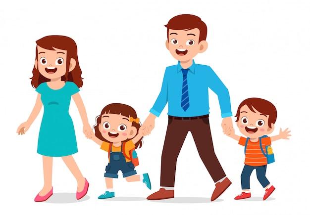Felizes lindos filhos menino e menina com a mãe e o pai