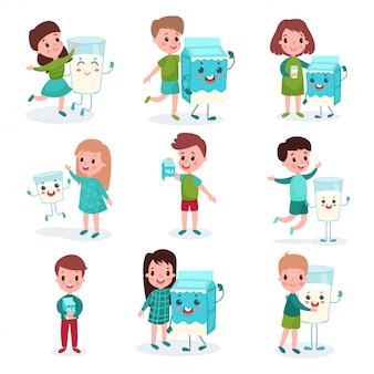 Felizes meninos e meninas brincando com caixas humanizadas e canecas de conjunto de leite, comida saudável para crianças cartum ilustrações Vetor Premium