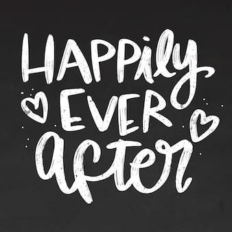 Felizes para sempre letras no quadro-negro