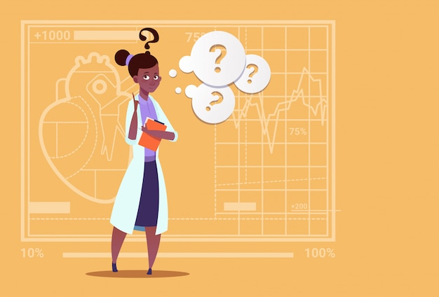 Female african american doctor confused thinking hospital de trabalhador de clínicas médicas