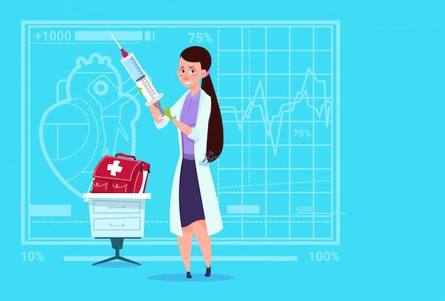 Female doctor holding syringe hospital de trabalhador de clínicas médicas