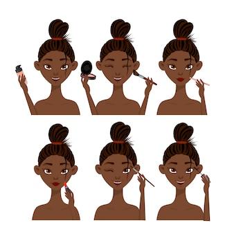 Fêmea africana de beleza conjunto com cosméticos.