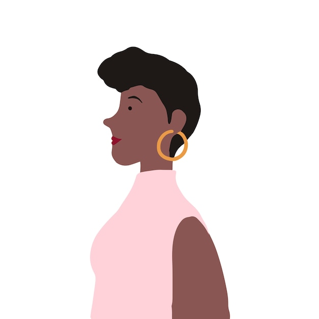 Fêmea afro-americana forte no vetor de perfil